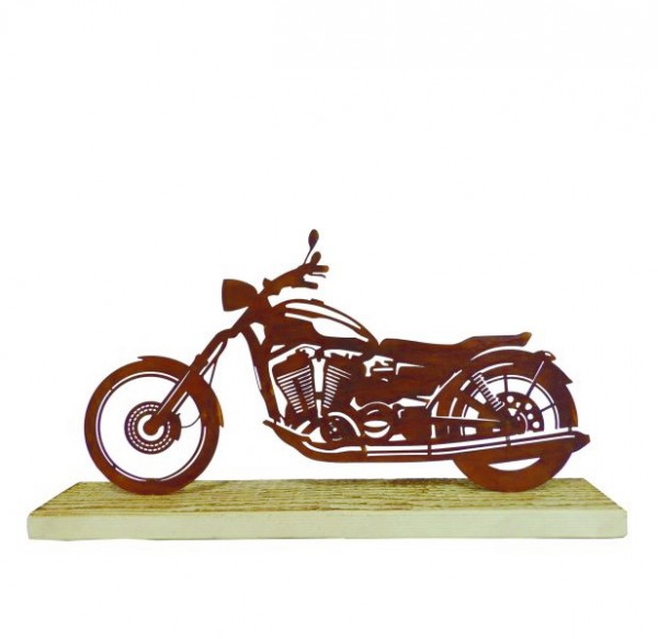 Edelrost Motorrad auf Holzfuß 40x22cm
