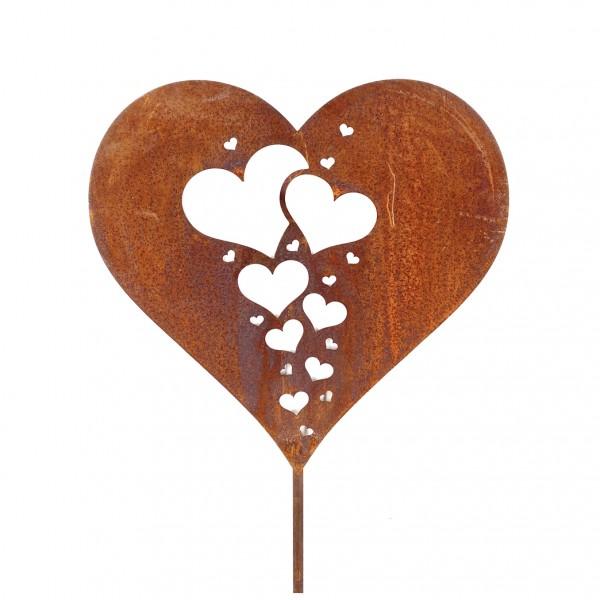 Edelrost Herz mit Miniherzen auf Stab 120cm